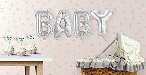 Buchstaben-Girlande Folienballons Baby - Silber - H: 36 cm