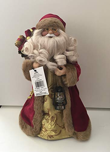 Puntale per albero di Natale o decorazione natalizia a forma di Babbo Natale, 30 cm, colore: rosso