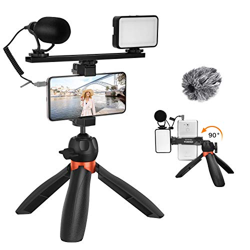 Comica CVM-VM10-K5 Smartphone Microphone Kit with Tripod, LED Light, Cardioid Shotgun Video Microphone for iPhone 12,11,8, XS Max Android Smartphones - External Mic for YouTube Recording TikTok Vlog