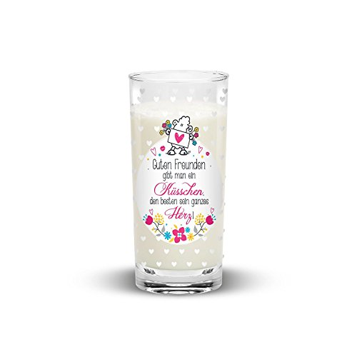 """Sheepworld 44401 Trinkglas """"Guten Freunden gibt man ein Küsschen"""", 50 cl"""