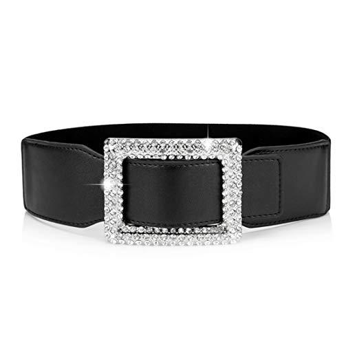 Uroruns Belts For Women With Big Rhinestone Square Buckle -Wide Elastic Waist Dressy Strentch Waistbands Belt (Black), Waist :24-35Inch