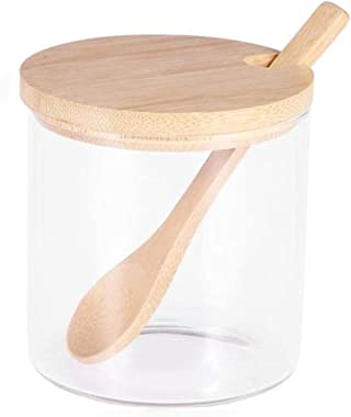 JWDS Kitchen Seasoning jar Glass Spice Jars Kitchen Condiment Jars Sugar Can Food Storage Containers with Bamboo Lid and Wood