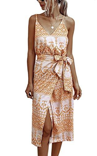 Spec4Y Damen Kleider Lang Blumen Sommerkleider V Ausschnitt Spaghetti Ärmellos Strandkleid mit Schlitz Medium 257 Orange
