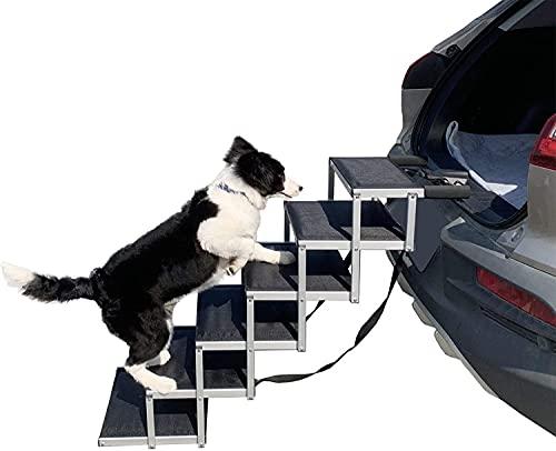 YEP HHO Klappbare Haustiertreppe, 6 Stufen Faltbare Auto Hundeschritte Haustiertreppe Leichte mit Stufen, Hundetreppe Auto Klappbare Hunderampe ideal für Autos, LKWs, SUVs