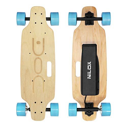 Nilox Doc Skateboard Elettrico, E-skate con Telecomando di Controllo, velocità max 12 km/h, Batteria 4,4 Ah, Sky Blue, Legno