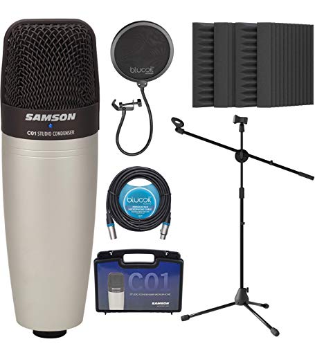 """Samson C01 Large-Diaphragm Condenser Microphone for Vocals and Acoustic Instruments Bundle with Blucoil 20-FT Balanced XLR Cable, Pop Filter, Adjustable Mic Stand, and 4x 12"""" Acoustic Wedges"""