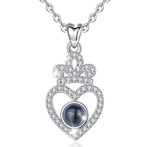 CELESTIA Mujer Collar de 100 Idiomas Te Quiero, Plata de Ley 925 Grabado Corazón y Corona Colgante, Regalos de Día de la Madre San Valentín