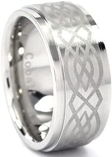 10 mm Cobalt Ring w/ Celtic Knot Design, Celtic Rings Jewelry