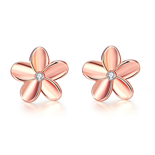 FJYOURIA Ladies Earrings Women Rose Gold/Sliver Color Flower Shaped Rhinestone Stud Earrings Best for Gift (18ct Rose Gold)
