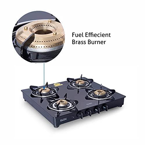Glen 4 Burner LPG Glass Gas Stove with Brass Burner, Auto Ignition, Black (CT4B55BLBBAI)