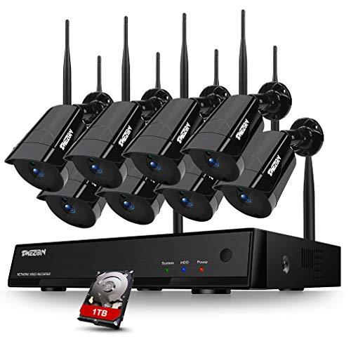 TMEZON WLAN 8CH HD 1080P NVR Funk Überwachungsset mit 8 Drahtlos 1080P 2.0Megapixel Außen Tag Nacht IP Überwachungskamera Set Wireless CCTV System, 30M IR Nachtsicht, 1TB Festplatte