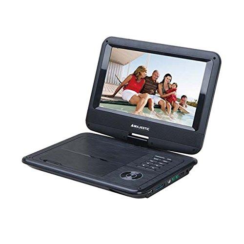 Majestic DVX 261D Portable DVD-Player tragbarer Mini-Fernseher DVD-Player mit DVB-T (USB SD, 9 Zoll LCD-Display, Fernbedienung, Akuu-12V-und Netz-Betrieb) schwarz