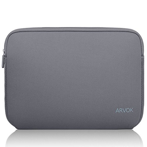 Arvok Neoprene Water Resistant Laptop Sleeve Case for Acer / Asus / Dell / Lenovo 15 - 15.6 Inch Laptops, Grey