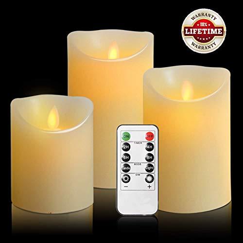LED-Kerzen,Flammenlose Kerzen 180 Stunden Dekorations-Kerzen-Säulen im 3er Set 10-Tasten Fernbedienung mit 24 Stunden Timer-Funktion (3*1, Ivory)