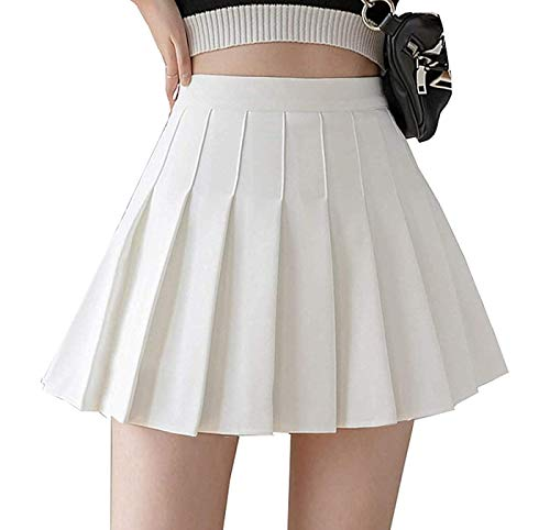 Girls Women High Waisted Pleated Skirt Plain Plaid A-line Mini Skirt Skater Tennis School Uniform Skirts Lining Shorts White