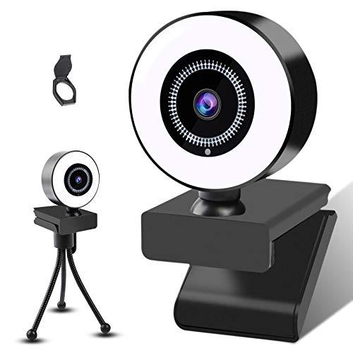 ZJSTRO 2K Webcam con Microfono y Luz Anular con Tapa y Tripode para Youtube, Videollamadas, Conferencias, Enseñanza en Línea, Juegos, Compatible con Windows, Mac y Android