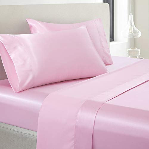 Vonty Satin Sheets Queen Size Silky Soft Satin Bed Sheets Pink Satin Sheet Set, 1 Deep Pocket Fitted Sheet + 1 Flat Sheet + 2 Pillowcases