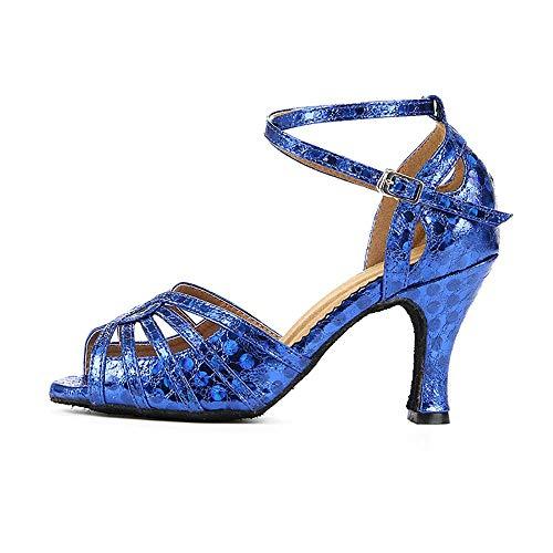 Sandalias Tacon Alto Tacones Mujer Zapatos Latinos para Mujer, Zapatos de Baile Latino de Cuero de los pies Abiertos de los pies Cruzados Zapatos de Correa de Rendimiento Zapatos de Baile Modernos/s