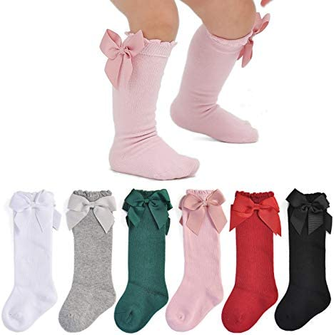 Epeius Baby Knee High Socks Newborn Girls Socks with Bow Uniform Tube Stockings Baby Long Socks product image