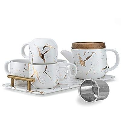 Taimei Teatime Ceramic Tea Set, Modern Tea Cup Set (7.6 fl oz) with Tea Pot (25 fl oz) and Infuser, Set for 4 Tea Service Sets - Marble Gold and White