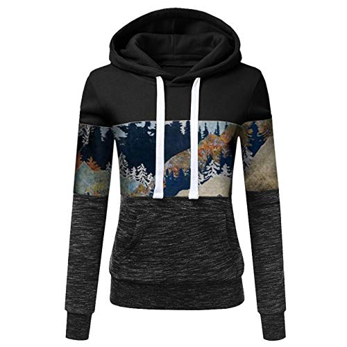 zhanxin Women Sweatshirts Autumn Winter Hoodies Long-Sleeve Hoody Mountain Print Patchwork Hooded Sweatshirt Female Outwear Coat Black