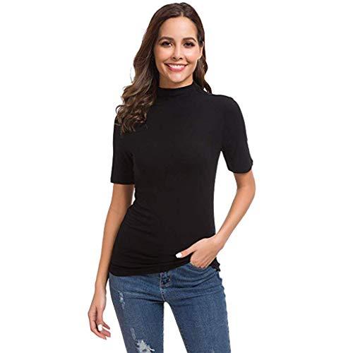 Yahoo Frauen-T-Shirt mit hohem Kragen und hohem Kragen Damen Sommer Kurzarm Brief Rollkragen Tops T-Shirt Top Bluse (S, Schwarz)
