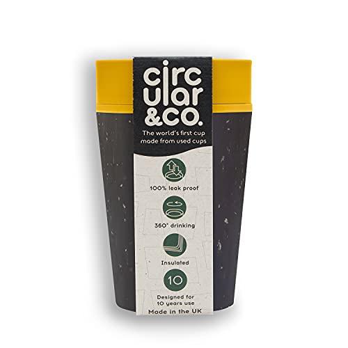 Circular and Co Kaffeebecher 227ml - Weltweit erster, aus Einweg Pappbechern recycelter Thermobecher, Coffee to go Becher, auslaufsicherer Trinkbecher mit 360° Trinkrand in Gelb-Schwarz