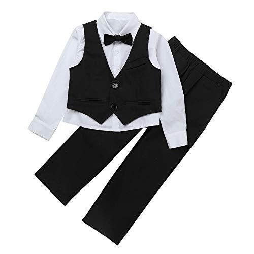 TiaoBug Kinder Anzug Junge Ouffits Smoking Gentleman Kleidung Set Festliche Anzug & Sakko Hochzeit Baumwolle Schwarz C 134-140