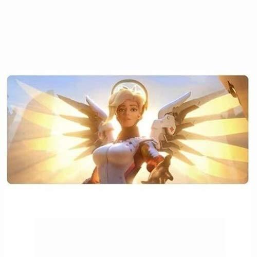 Wtbew-u Alfombrilla para ratón para Juegos, Overwatch Large Keyboard Mat Mercy Angela Ziegler Apoyar a Hero Hero Immortal 900x400mm para la Oficina en casa