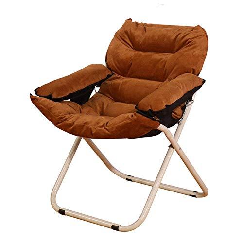 Tägliche Ausstattung Sofastuhl Lounge Chair Easy Fold Haushalts-Mittagspause Ältere Lazy Klappstühle zum Lesen Entspannend (Farbe: Braun Größe: 626292cm)