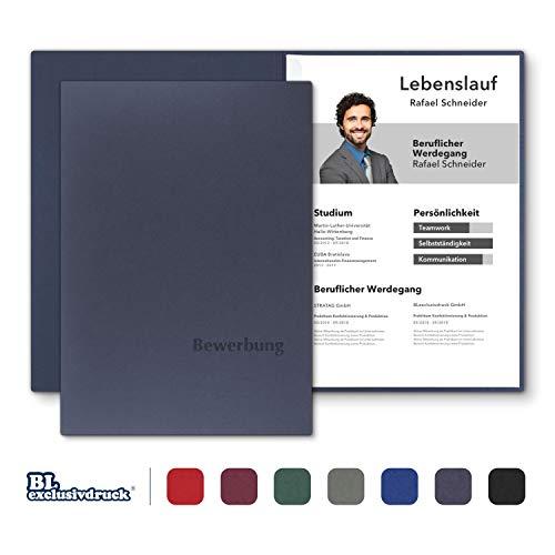 8 Stück zweiteilige Bewerbungsmappen BL-exclusivdruck® BL in Marineblau - Premium-Qualität mit edler Relief-Prägung 'Bewerbung' - Produkt-Design von 'Mario Lemani'
