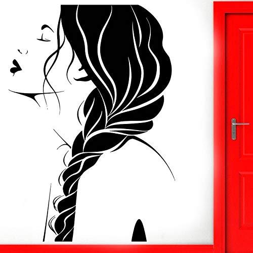 Peluquería pared calcomanía ventana pegatina salón de belleza mujer cara peinado pegatina rollo DIY murales impermeable A3 34x57cm
