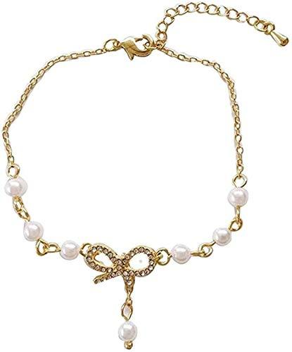 Yaoliangliang Collar Maiden Bow Pulsera Ajustable Sweet Pearl Pulsera Estudiante Accesorios de Diamantes Cuerdas de Mano Regalo