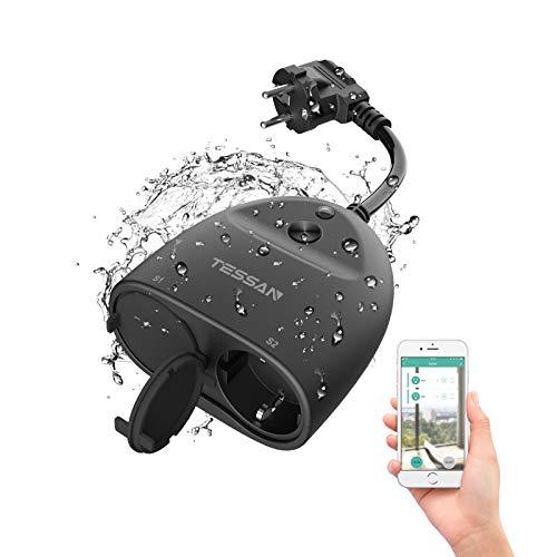 TESSAN WLAN Steckdose Outdoor Smart Home plug Wasserdicht WIFI Außensteckdose, IP44 Steckdosen mit 2 AC, mit App fernbedienung, Kompatibel mit Alexa, Google Home und IFTTT