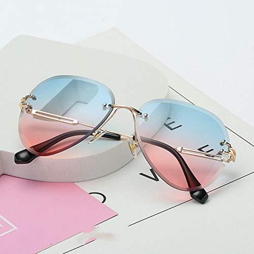 ZYIZEE Gafas de Sol Gafas de Sol de Metal sin Montura Gafas de Sol para Mujer Gafas de Sol con gradiente Lente de Corte Gafas de Conductor para Mujer UV400-B