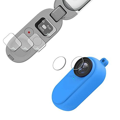 Protector de lente para Insta360 Go 2 + funda de goma + cordón de mano [2+1+1 paquete], iDaPro vidrio templado fácil instalación-azul