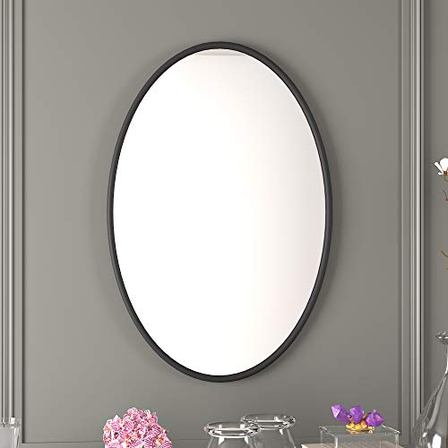 PROHOMEWARE Black Oval Bathroom Decorative Mirrors - Metal Frame 24X35 in Double Modern Vanity Beveled Bedroom Mirror Farmhouse Rustic Vintage Above Couch Entryway Wall Silver Mirror