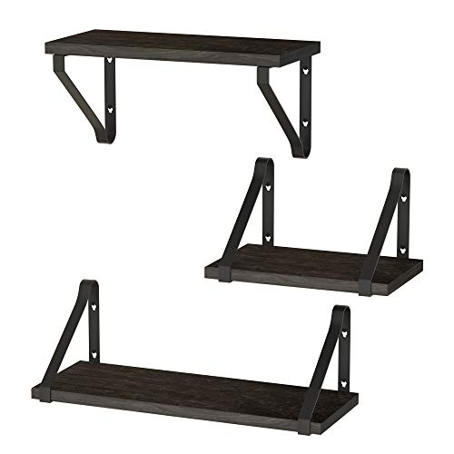 ZGO Floating Shelves for Wall Set of 3,Rustic Wood Wall Mounted Decor Storage Shelves with Black Metal Frame for Bathroom, Bedroom, Living Room, Kitchen, Office