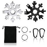 18-in-1 Multi-Tool Snowflake, 2Pcs Multi Attrezzo in Acciaio Portatile Cacciavite con Chiave Esagonale per viaggi in campeggio (Argento e Nero)