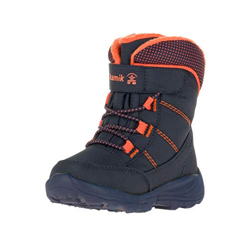 Kamik Boys' Stance Snow Boot, navy/flame, 6 Medium US Toddler