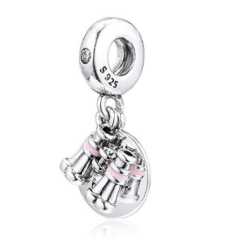YuuHeeER 2019 - Binocolo a forma di cuore, in argento 925, adatto per la creazione di gioielli originali Pandora fai da te