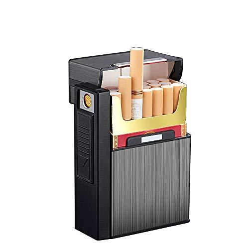 Zigarettenetui mit USB-Feuerzeug, 2 in 1, für 20 Zigaretten, King Size, regulär, teilbar, tragbar, wiederaufladbar, winddicht, elektrisches Feuerzeug ohne Flamme