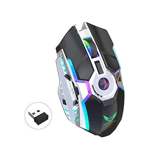 LBWLB Draadloze gamingmuis, 2,4 G spelbare draadloze gamer-muis 7 toetsen, 3 instelbare dpi, 10 miljoen levenslange klikken, professionele optische computer draadloze muis met nano-ontvanger