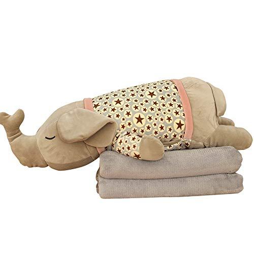 BGROESTWB Stofftiere Cartoon-Tier DREI-in-one-Kissen weich Plüsch Spielzeug Studenten Nap Klimaanlage Decke für Kinder (Color : E, Size : 70cm)