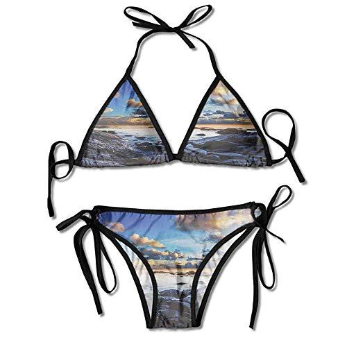 Sdltkhy Benutzerdefinierte Muster Badeanzüge, Zweiteilige vertikale Streifen Bikini Boat Neck Push