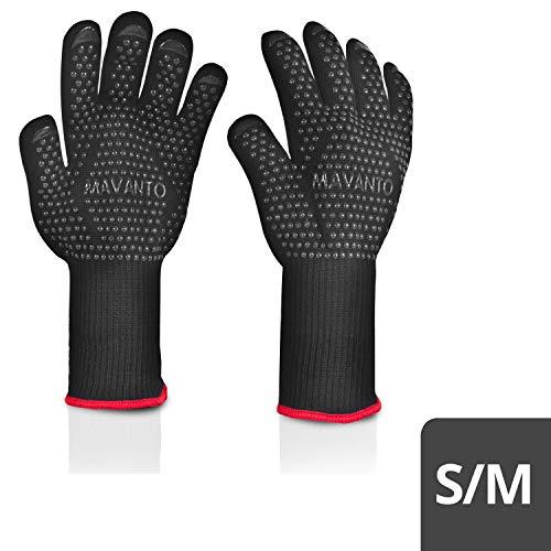 MAVANTO® Grillhandschuhe EXTRA LANG hitzebeständig bis zu 500 Grad - perfekt auch am Ofen - Profi BBQ Handschuhe mit Unterarmschutz (Schwarz, S/M)