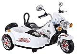 Indalchess Moto ELÉCTRICA 2 Motores DE 12V con Sidecar, para NIÑOS, Blanca - LE6446