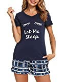 Sykooria Pijama Mujer Estampado 2 Piezas Pijama Mujer Verano Disney Conjunto Bata y Camison Ropa de Noche Corto Pijama algodón para Estar Casa