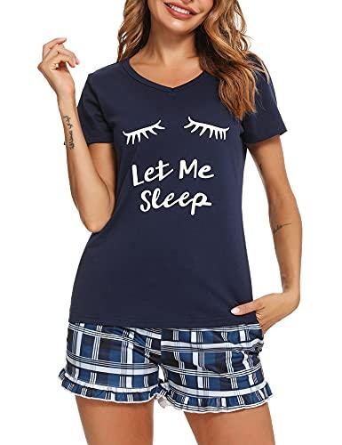 Sykooria Pijama Verano Mujer Corto Comjunto Pijama Algodón 2 Piezas Camiseta Estampada/Rayas y Pantalones Cuadros Ropa Dormir Tallas Grandes Cómodo