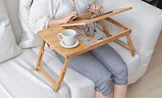 طاولة لاب توب خشبية بمروحة تبريد يو اس بي قابلة للتعديل، مناسبة كصينية سرير او طاولة للقراءة